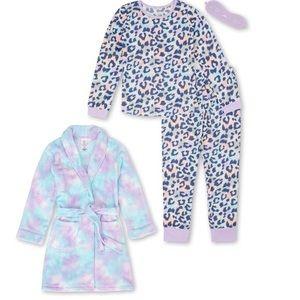 NWT leopard 6 6x rainbow robe mask pajamas twins